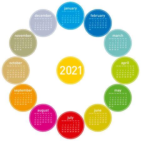 Colorful calendar for 2021. Circular design. In vector format
