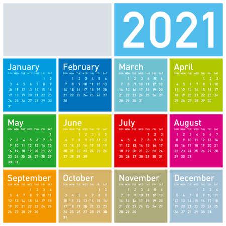 Colorful Calendar for Year 2021, in vector format. Ilustración de vector