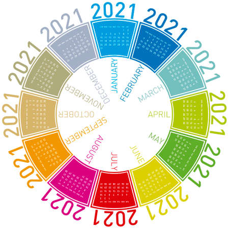 Colorful calendar for 2021. Circular design. In vector format