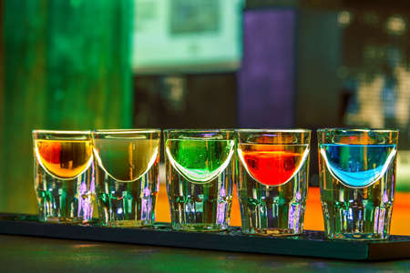 nightclub: Shots of liqueur in a nightclub in the summer