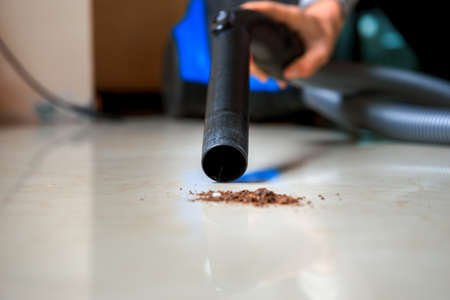 carpet clean: Vacuum cleaner on a carpet with an extra clean strip