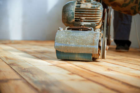 home renovation, parquet sanding, polishing Stockfoto