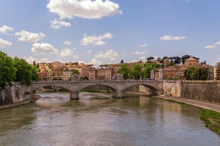tevere: Bridge on Tiber river in Rome Editorial