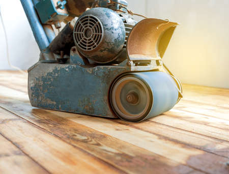 home renovation, parquet sanding, polishing Stock Photo