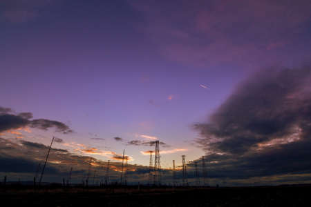 Radio Tower with sky background in sunset Stock Photo
