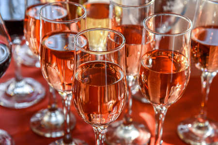 banket: Glasses with wine on the table Stock Photo