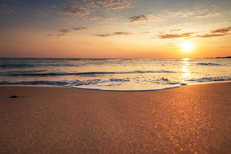 Scenic view of beautiful sunset above the sea. Stock Photo