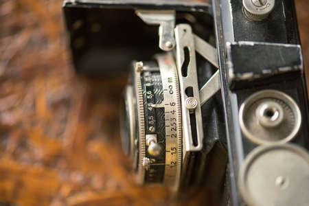 Very Old Vintage Film Camera, Studio Shot. Stock Photo