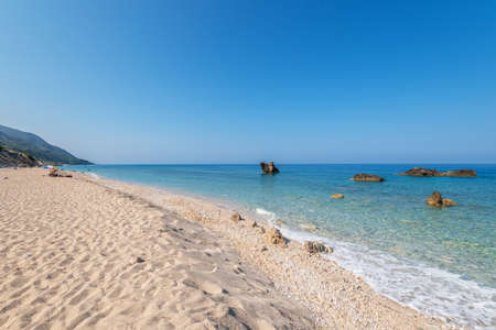Kathisma Beach, Lefkada Island, Greece. Kathisma Beach is one of the best beaches in Lefkada Island in Ionian Sea Stock Photo