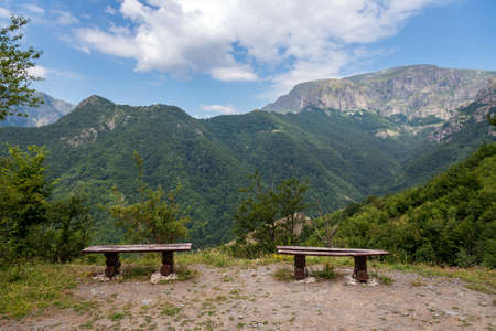 A bench in the meadow at mountains. Central Balkan in Bulgaria.