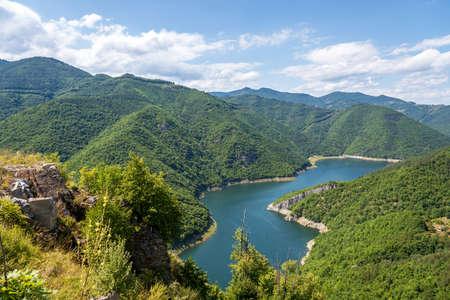 Green hills around Vacha dam, Rhodope Mountains, Plovdiv Region, Bulgaria.
