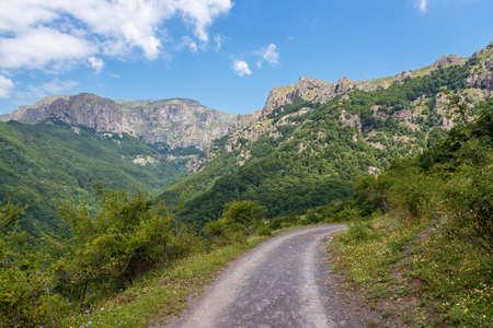 Path through summer mountain ridge under blue sky.