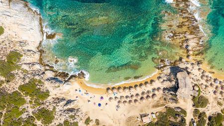 Aerial view in Tigania beach in Greece.