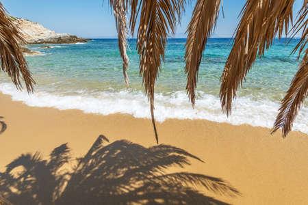 Beautiful Tigania beach on Greek peninsula Sithonia, part of larger peninsula Chalkidiki.