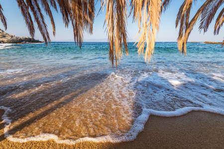 Beautiful Tigania beach on Greece  peninsula Sithonia, part of larger peninsula Chalkidiki.