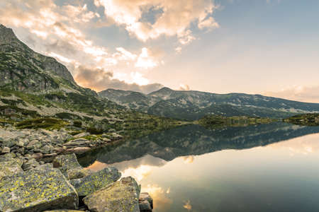 Popovo Lake and Jangal mountain in Pirin National Park,Bulgaria at sunrise.