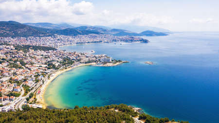 Aerial view of seascape at Kavala - Greece. 写真素材