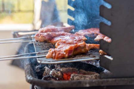夏日自然烤肉,野餐烧烤。