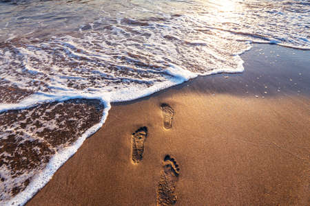Beach, wave and footsteps at sunset time in summer.