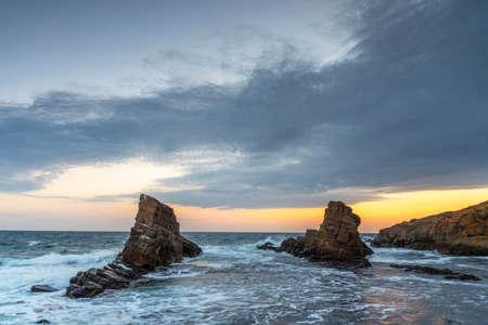 beautiful rocks in Bulgaria at sunrise in summer
