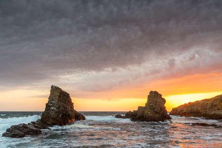 beautiful rocks in Bulgaria at sunrise in summer.