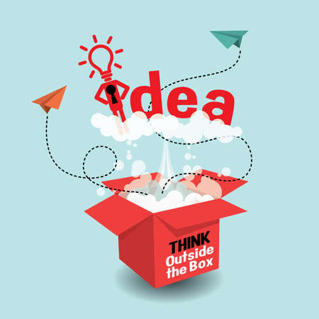 Think Outside The Box. Creative idea. Conceptual flat illustrations Illustration