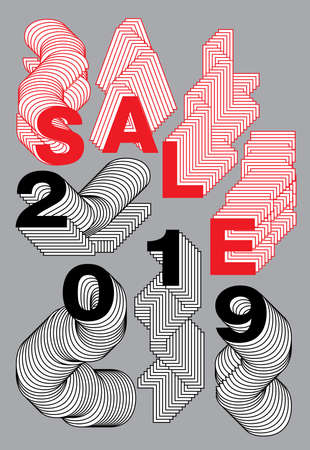 sale 2019, layered alphabet, vector illustration