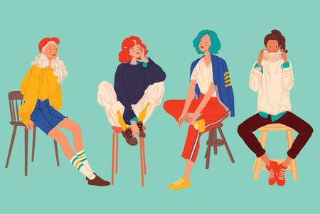 Diverse women faces, women different style, women sitting on chair, vector illustration