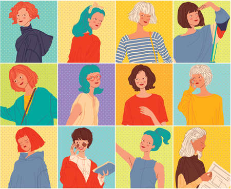 Diverse women faces background, women different style, vector illustration 向量圖像