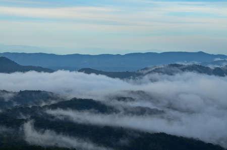 farther: fog mountain in Thailand