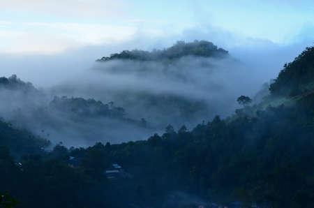 fog mountain in Thailand photo
