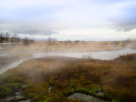 The smoke of thermal spring, Deildartungguhver, in Iceland