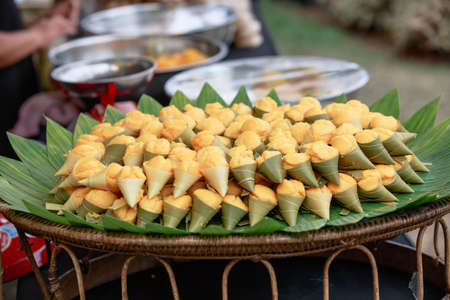 Thai dessert in yellow color, made from sugar palm fruit, Thailand.