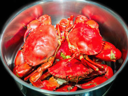 Steamed mud crab in a big pot. Stock Photo