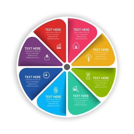 circle chart infographic templates for presentations, advertising, layouts, annual reports. 8 options, steps, parts. 일러스트