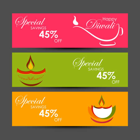Vector illustration or greeting card of Diwali festival with stylish beautiful oil lamp and Diwali elements,Diwali SALE, Diwali Special offer background. Ilustración de vector