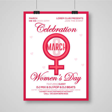 Happy Women\'s Day. Vector illustration. Woman\'s Day greeting calligraphy design. Template for a poster, cards, banner.