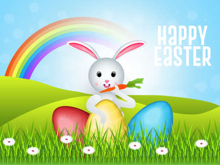 Happy Easter vector illustrations of bunnies, rabbits icons, decorated Vetores
