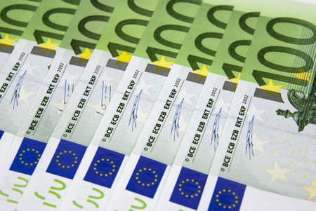 Background from hundred euros of banknotes  Stock Photo