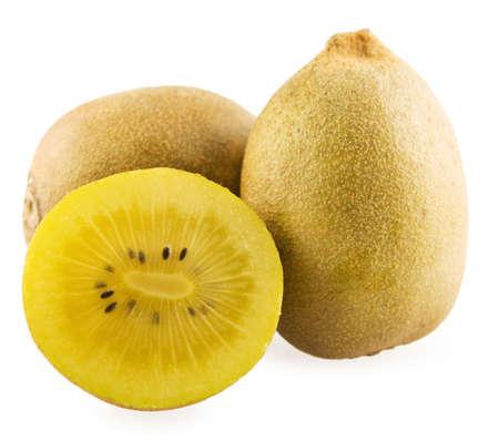 Kiwi and the shear of the fruit on white background
