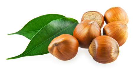 Somewhat hazelnuts and the green leaves on white background
