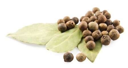 Bay leaves and pepper on white background Stock Photo