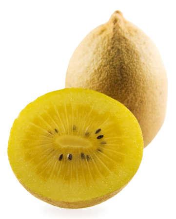 Gold kiwi on white background Stock Photo