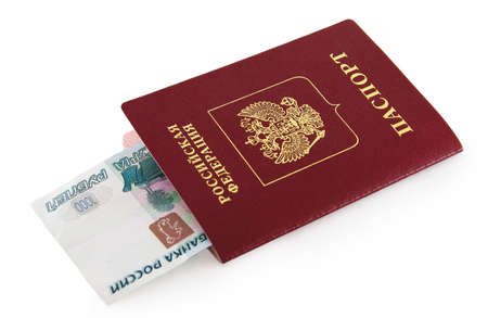 Russian passport with money in white background