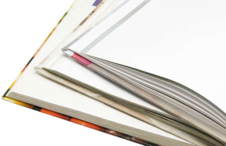 Edges of books on white background Stock Photo