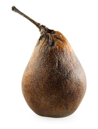Decaying pear on a white background