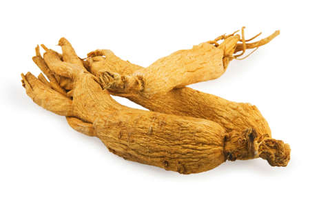 Ginseng roots on white background Stock Photo