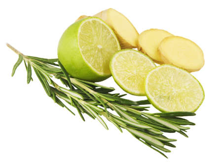 Branch of rosemary and lime and ginger