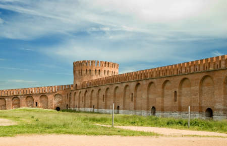 The fortress wall in Smolensk. Russia