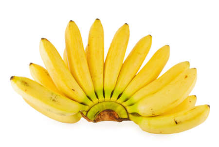 Branch of banans on white background